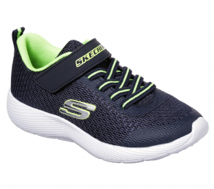 Kids Skechers 98120L NVLM DYNA-LITE Navy Lime Trainers